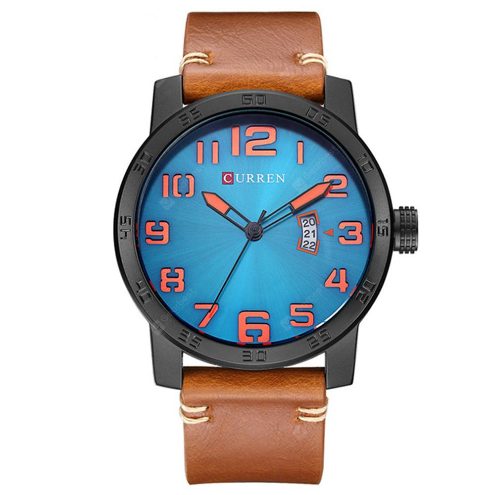 CURREN Men's Luxury Creative Band Material  Large Dial Leather Dress Watch