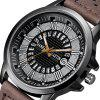 Fashion Large Dial Military Quartz Men  Sport Watch - DEEP COFFEE