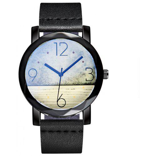 Cooho C08 Rustic Style Contrast Quartz Watch with Soft Leather Strap
