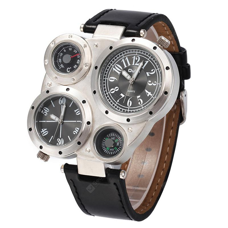 Oulm HP9415 Multi-function Multiple Time Zone Compass Thermometer Quartz Watch