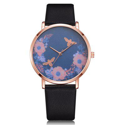 Lvpai P329 Women Analog Quartz PU Wrist Watch with Bees and Flowers