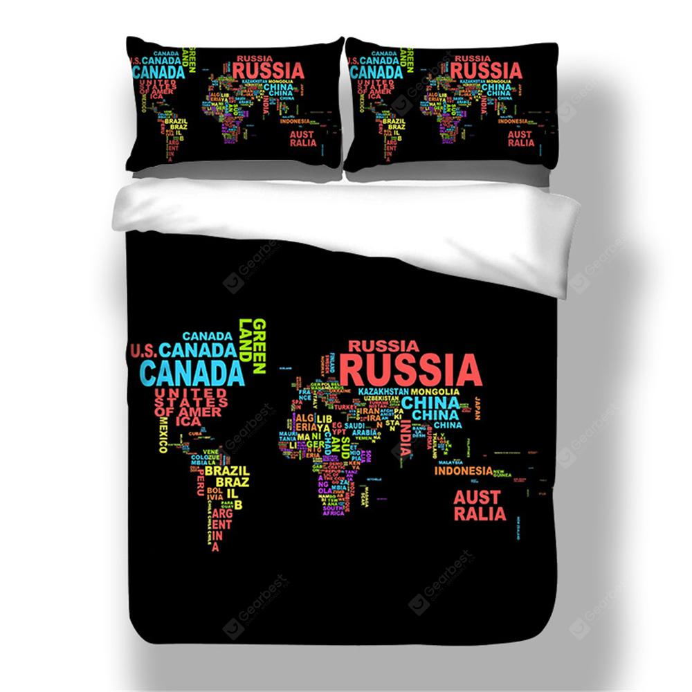 2018 new pattern words world map printing cotton bedding set 3pcs 2018 new pattern words world map printing cotton bedding set 3pcs duvet coverset gumiabroncs Gallery