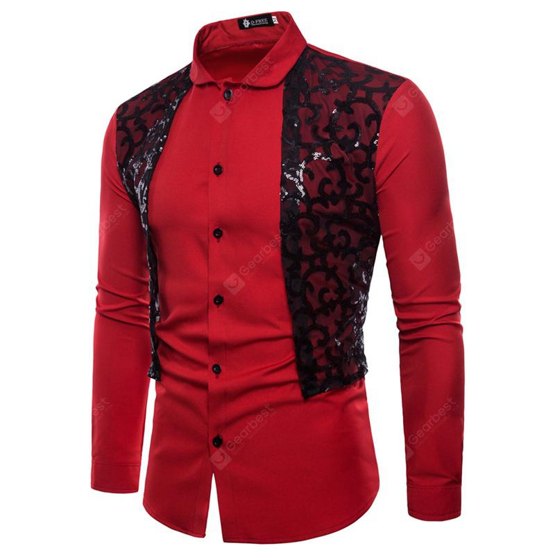 Men Casual Fashion Sequins Design Long Sleeve Shirts