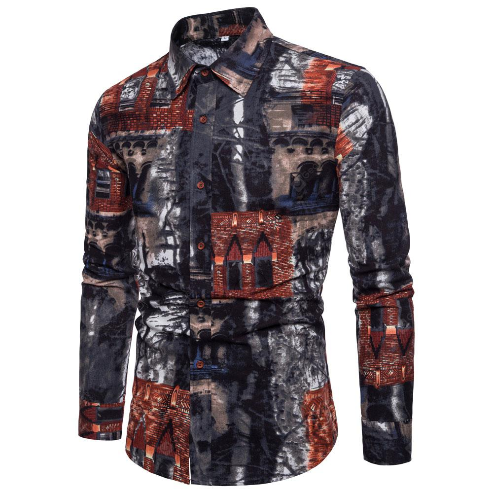 SportsX Mens Long-Sleeve Ethnic Style Turn Down Collar Floral Embroidery Shirt