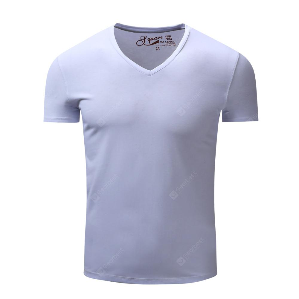 FREDD MARSHALL Men's Casual Short Sleeve V-Neck Solid T-Shirt
