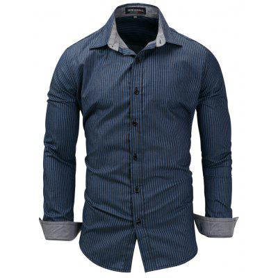 FREDD MARSHALL Men's Long Sleeve Denim Striped Casual Shirt