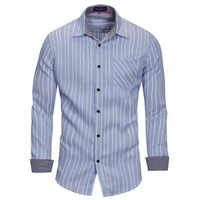 FREDD MARSHALL Men's Casual Long Sleeve Striped Cotton Shirt