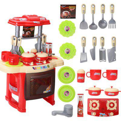 Music Children Educational Lighting Music Cooking Table Across The Kitchen Toys wooden kitchen toys set children pretend play kitchen toys child multifunction educational toys birthday gift