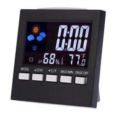 Outdoor Hygrometer Temperature Meter Student LCD Alarm Clock Backlight Desktop