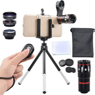APEXEL APL-JS10X3ZJB 5 in 1 Mobile Camera Lens Kit Telephoto Wide Macro Fisheye universal fisheye wide angle macro lens for mobile phone silver