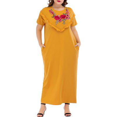 Plus Size Women's Summer Dress Short-Sleeved Embroidered Ruffle Dress