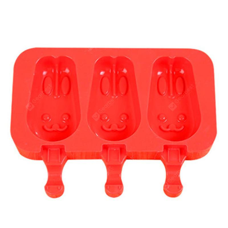 Silicone Ice Cream Mold Popsicle Molds Ice Tray Cube Tool - Red