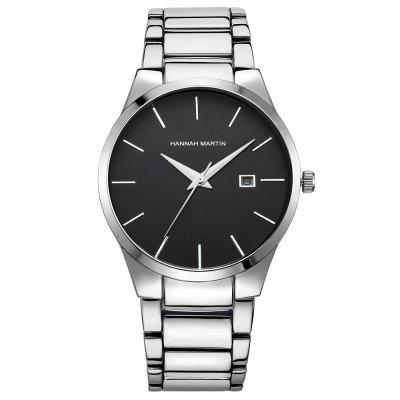 Muži 3ATM Steel Business Casual Black Calendar Quartz hodinky