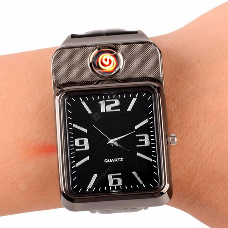 Smart Watch 2 In 1 Windproof Flameless Rechargeable USB Cigarette Lighter