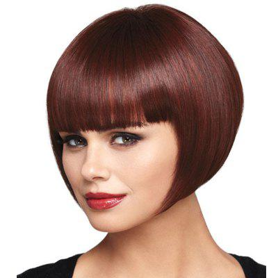 Wine Red Straight Bang Wig