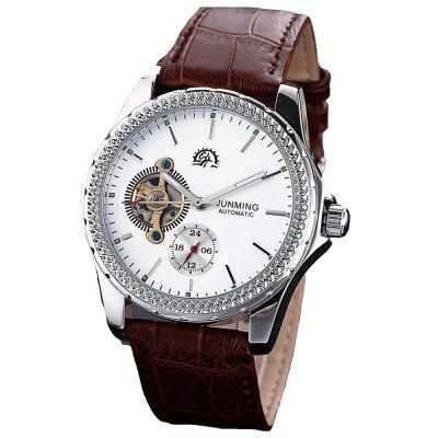JUNMING Men Luxury Automatic Self-Winding Military Leather Mechanical Watch forsining men luxury mechanical watches men s sports tourbillon automatic watch rubber strap auto date week month calendar clock