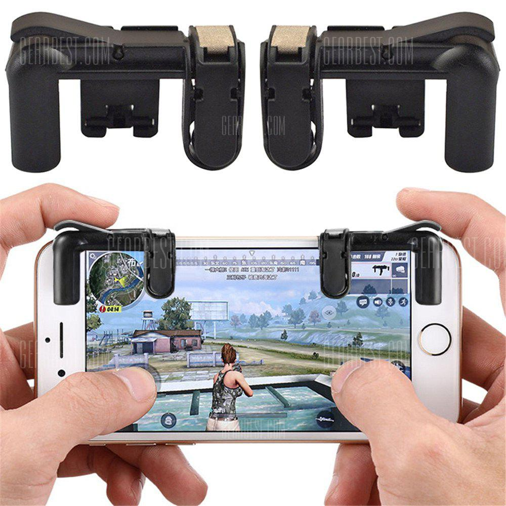 Gearbest Mobile Phone Gaming Fire Button Trigger L1R1 Shooting Controller 2PCS - BLACK