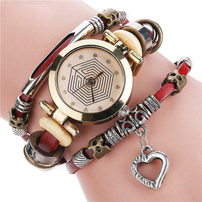 Retro Lady Fad Love Pendant Quartz Watch
