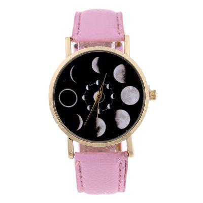 New Solar Eclipse Lunar Man and Female Casual Student Quartz Watch faux leather lunar eclipse face watch