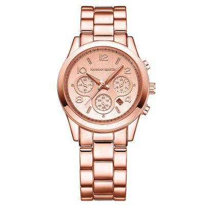 Fashion Stainless Steel Band Women Calendar Quartz Watch