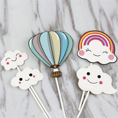 Hot-Air Balloon Rainbow Clouds Cake Flags Birthday/Wedding Decoration clouds without rain