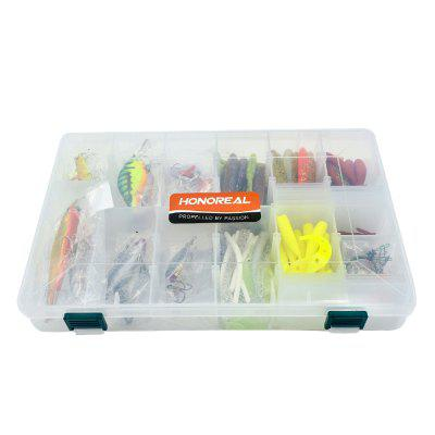 HONOREAL Mixed Fishing Lure Set Hard Plastic Metal Spoon Spinner Soft Bait