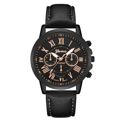 GENEVA Fashion Casual Creative Large Dial Leather Chronograph Sport Watch