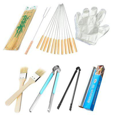 Outdoor Grill Accessories Foil Fork Charcoal Tongs Bamboo Stick 8pcs skewers food slicer kebab maker box kit bbq grill accessories tool