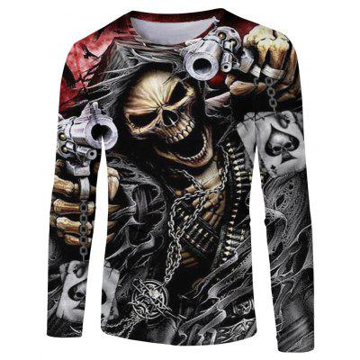 Fashion Spring and Autumn Style Chain Skull 3D Print Men's Long-Sleeve T-shirt
