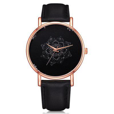 Lvpai P334 Women Floral Dial Analog Quartz PU Wrist Watch