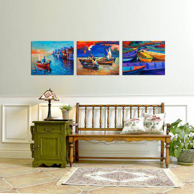 W364 Boats Unframed Art Wall Canvas Prints for Home Decoration 3PCS wall art sunset pyramids printed unframed canvas paintings