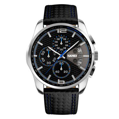SKMEI Outdoor Sports Quartz Men Top Luxury Brand Chronograph Leather Watches
