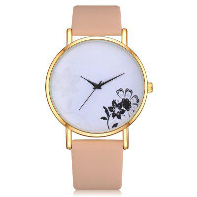 Lvpai P338 Women Floral Analog Quartz PU Wrist Watch