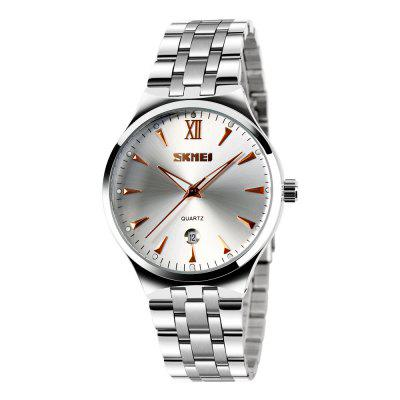 SKMEI Stainless Steel Quartz Top Brand Calendar Fashion Waterproof Sport Watches keep in touch couple watches for lovers luminous luxury quartz men and women lover watch fashion calendar dress wristwatches