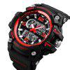 SKMEI Fashion Multi-function Chronograph Digital Quartz Dual Display Watches - RED