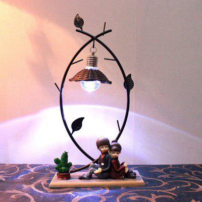 Creative Couple Night Light Wrought Iron Resin Craft Ornaments single head nordic retro iron pendant lamp creative square shape art restaurant light hallway light cafe bar light free shipping