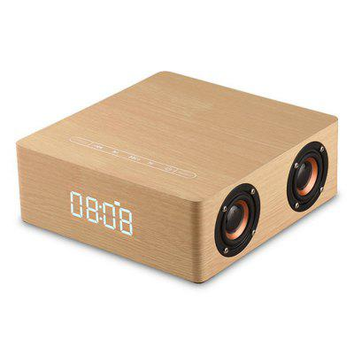 Wooden Bluetooth 4.2 Subwoofer Speaker with Clock