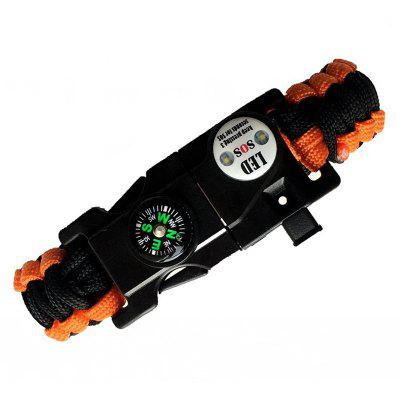LED Outdoor Camping Survival Whistle Compass Bracelet