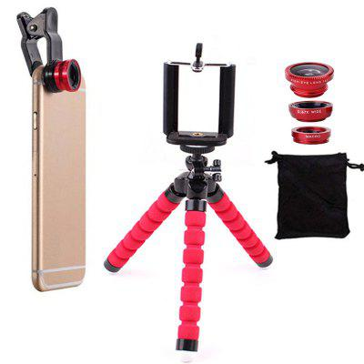 Fish Eye Lens Wide Angle Macro Lenses with Flexible Phone Tripod Holder 6pcs