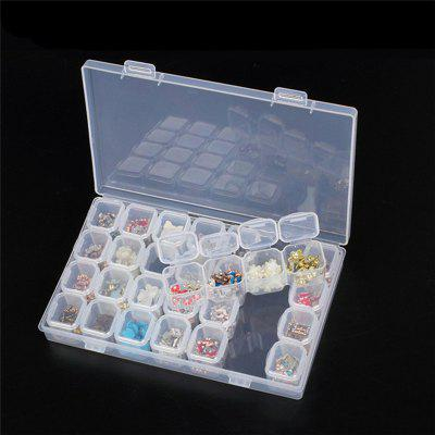 Clear Plastic 28 Slots Nail Art Tools Jewelry Display Storage Box multifunctional wooden storage box mobile phone repair tools box motherboard accessories toolbox