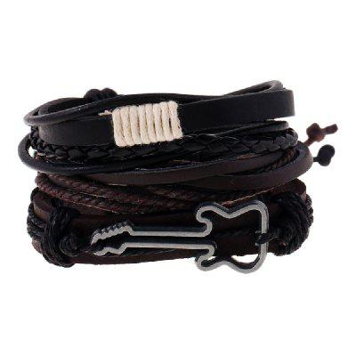 YEDUO Leather Bracelets Men Music Note Charm Chitarra Wrist Band Boys Accessorie