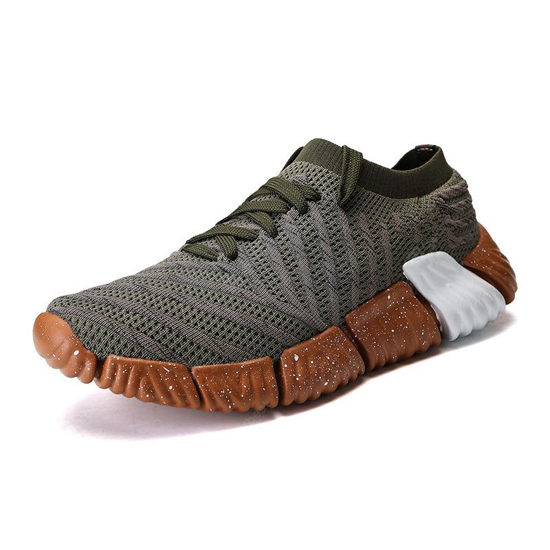 Men Breath Jogging Athletic Leisure Trainer Sports Running Fly Weave Sneakers