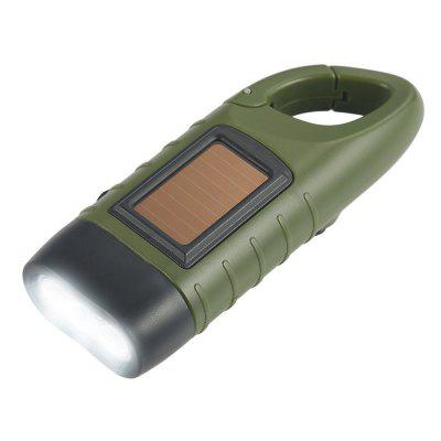 2018 Rechargeable LED Flashlight Hand Crank Dynamo Solar Powered Torch Outdoor