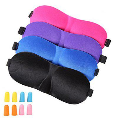 4Pcs Lightweight Comfortable Adjustable Eye Mask with 8 Pack Ear Plugs