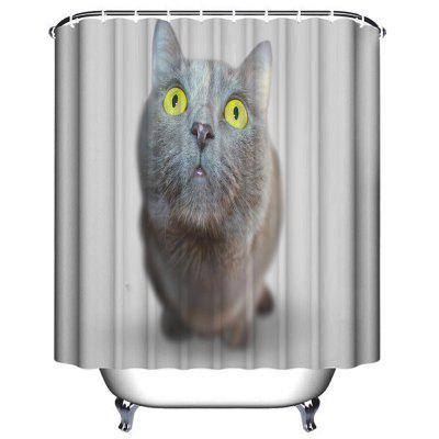 Cute Cat Bathroom Polyester Printing Waterproof Shower Curtain cat pattern waterproof shower curtain