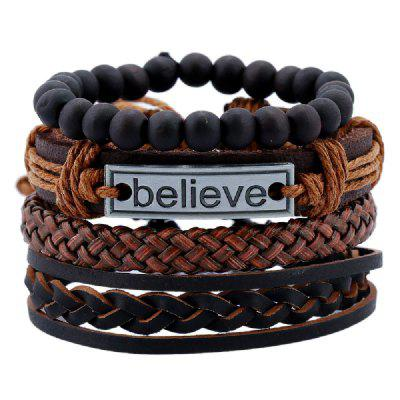 YEDUO 4 Pieces Beads Braided Leather Believe Charm Bracelet For Men