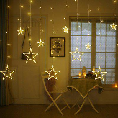 12 Stars LED Curtain String Lights with 8 Flashing Mode for Party Wedding Home 10m 100 led 110v 8 mode fancy ball lights decorative christmas party festival twinkle string lamp strip rgb us plug