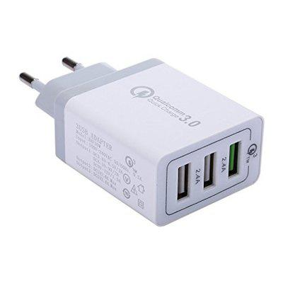 30W USB 3 Port QC 3.0 Fast Quick Wall Charger Adapter (EU Plug)