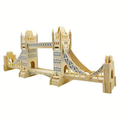 DIY 3D Wooden Puzzle London Tower Bridge for Kids Gift 3d wood puzzle diy model kids toy france french style coffee house puzzle assemblage toys for children s gift