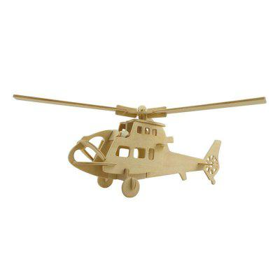 DIY 3D Wooden Puzzle Fighter Helicopter for Kids Gift helicopter fighter modeling plastic building toys for kids